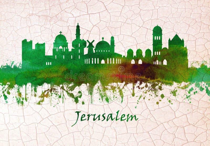 Jerusalem Israel skyline. Skyline of Jerusalem Israel, It is one of the oldest cities in the world stock illustration