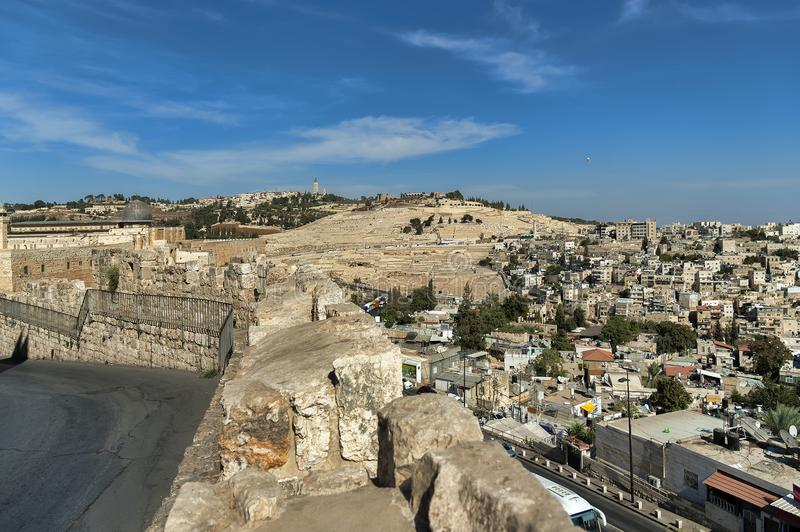 Jerusalem Israel, View from the old wall over the landscape of the old city of Jerusalem, in the distance Mount Zion royalty free stock photo