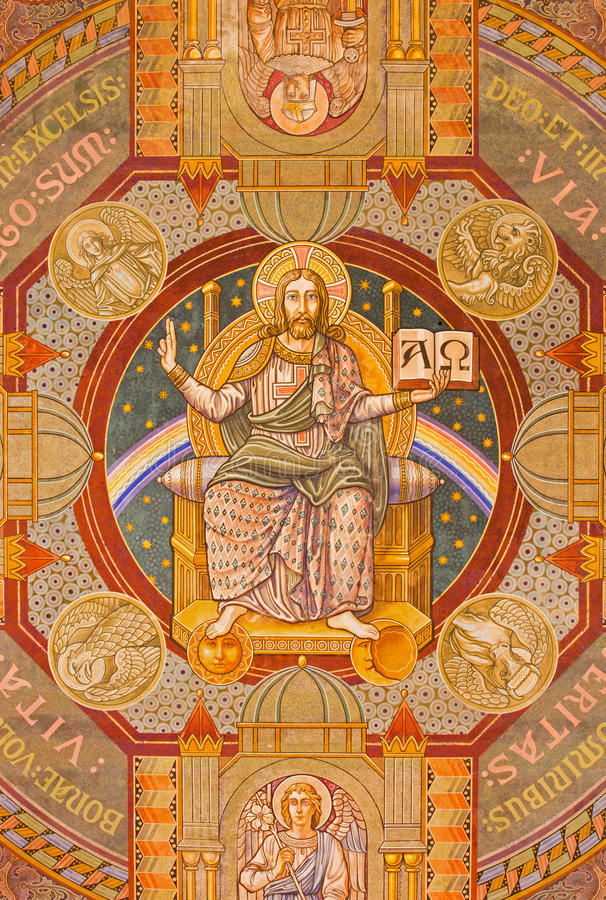 Jerusalem - Jesus the Pantokrator and the apostle. Paint on the ceiling of Evangelical Lutheran Church of Ascension. JERUSALEM, ISRAEL - MARCH 3, 2015: Jesus the royalty free stock photography