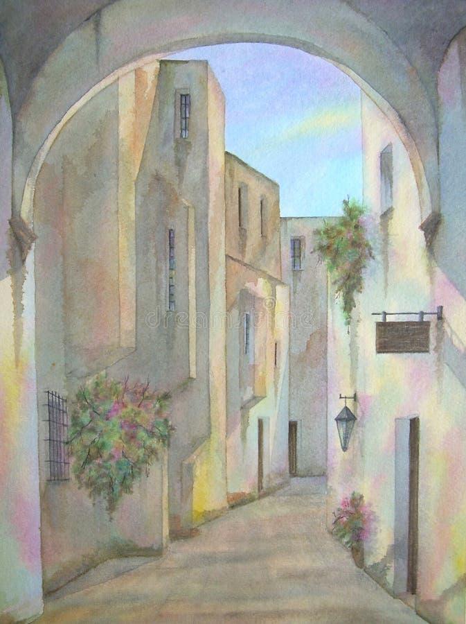 jerusalem judisk gammal fjärdedel stock illustrationer