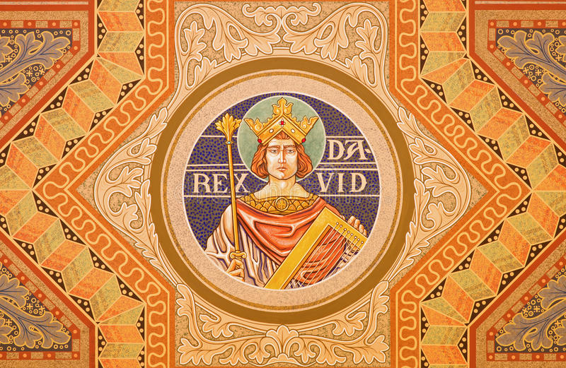 Jerusalem - The king David. Paint on the ceiling of Evangelical Lutheran Church of Ascension. JERUSALEM, ISRAEL - MARCH 3, 2015: The king David. Paint on the stock photo