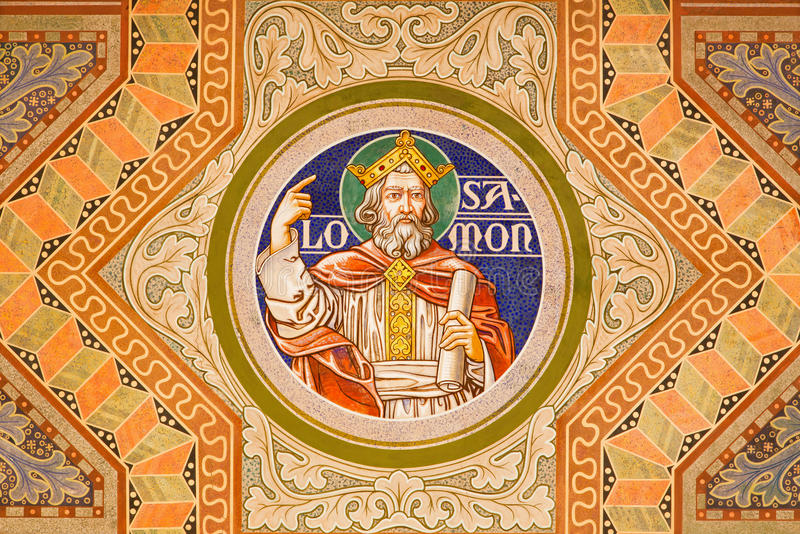Jerusalem - The king Salomon. Paint on the ceiling of Evangelical Lutheran Church of Ascension. JERUSALEM, ISRAEL - MARCH 3, 2015: The king Salomon. Paint on the stock photos