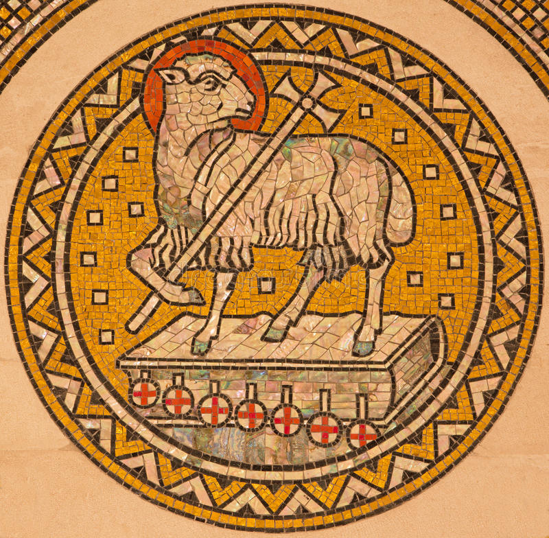 Jerusalem - The lamb of God. Mosiaic on the side altar of Evangelical Lutheran Church of Ascension. JERUSALEM, ISRAEL - MARCH 3, 2015: The lamb of God. Mosiaic royalty free stock photography