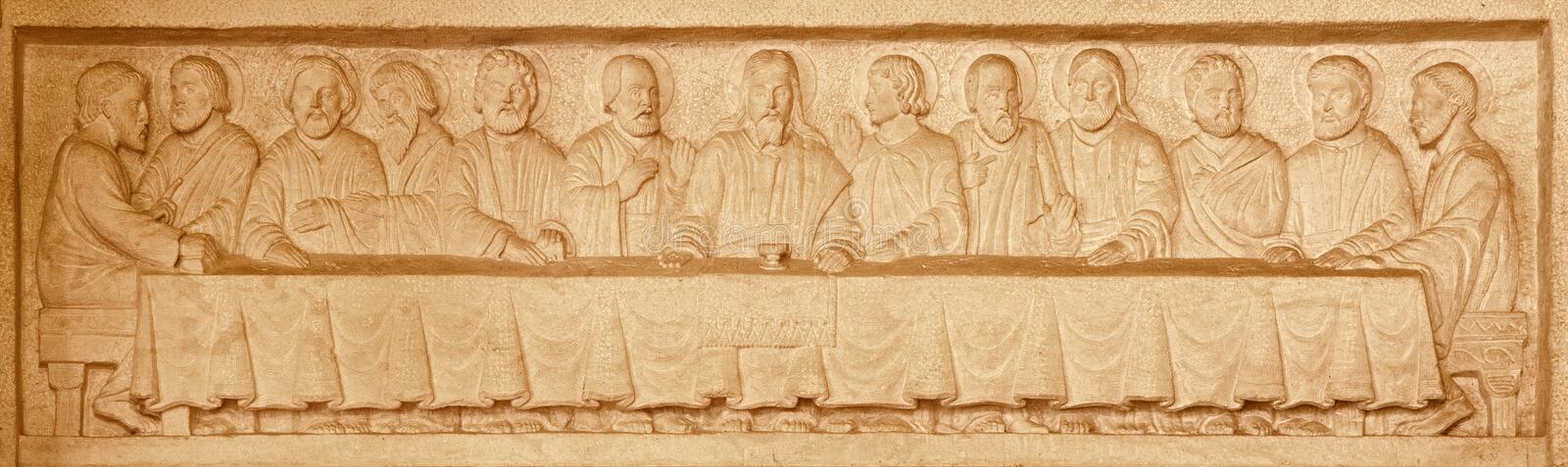 Jerusalem - The Last supper stone relief in Evangelical Lutheran Church of Ascension. JERUSALEM, ISRAEL - MARCH 3, 2015: The Last supper stone relief in royalty free stock photo