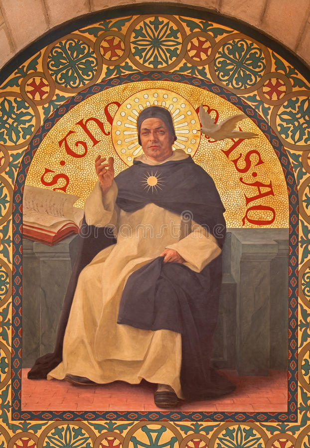 Jerusalem - målarfärgen av den skolastiska filosofen Saint Thomas av Aquinas i kyrka för st Stephens från året 1900 av Joseph Aub arkivfoton