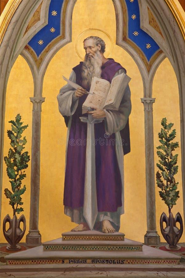 Jerusalem - målarfärgen av St Paul aposteln i kyrka av Flagelltion på via Dolorosa arkivbild