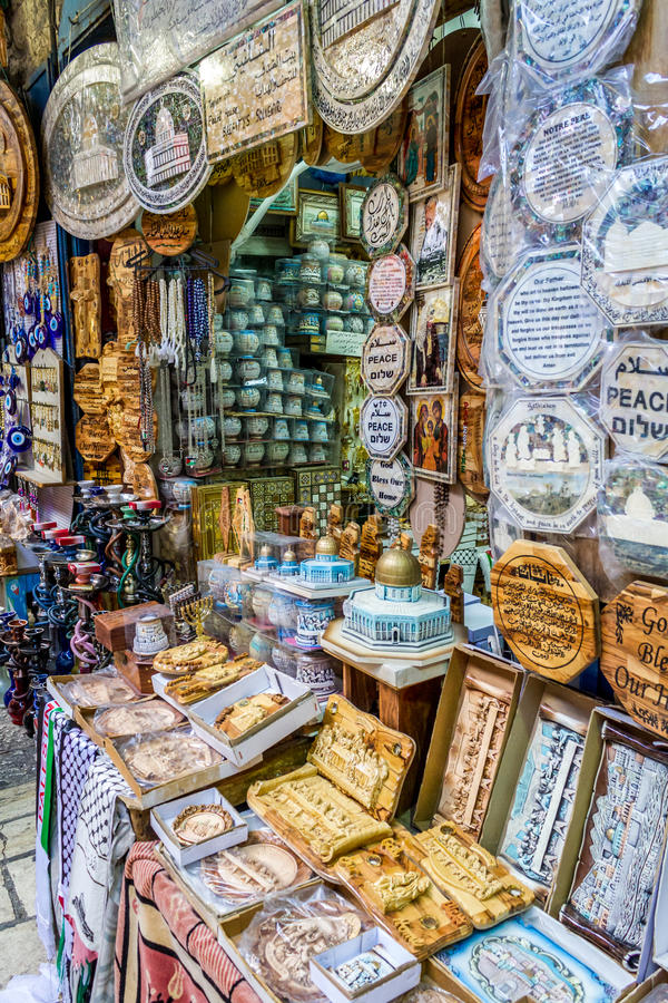 Jerusalem market in Old City, gift shop. Gift shop, handmade souvenirs to tourists. Market in Old City in Jerusalem, Israel royalty free stock images