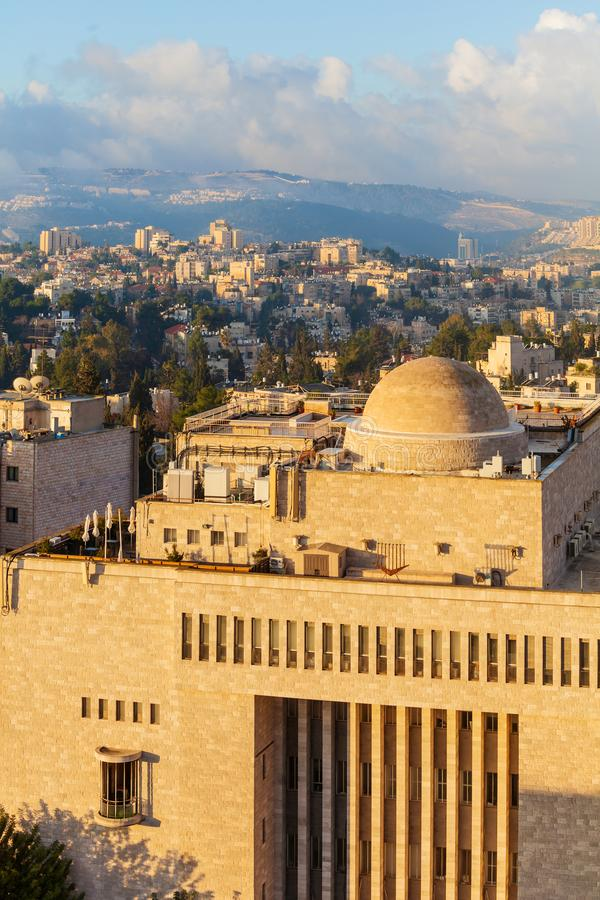 Jerusalem moderna stadstak, Israel royaltyfria bilder