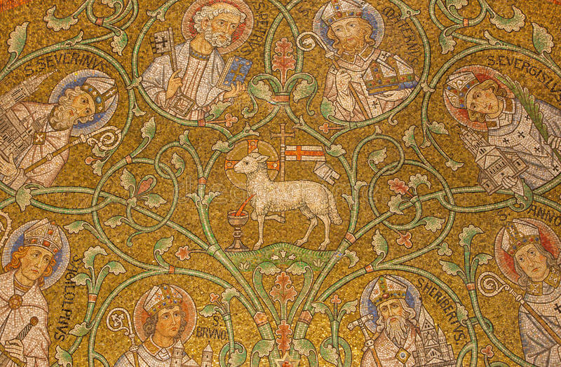 Jerusalem - The mosaic of The Lamb of God among the saints in side apse of Dormition abbey. By Benedictine Radbod Commandeur from the Benedictine Abbey of Maria stock images