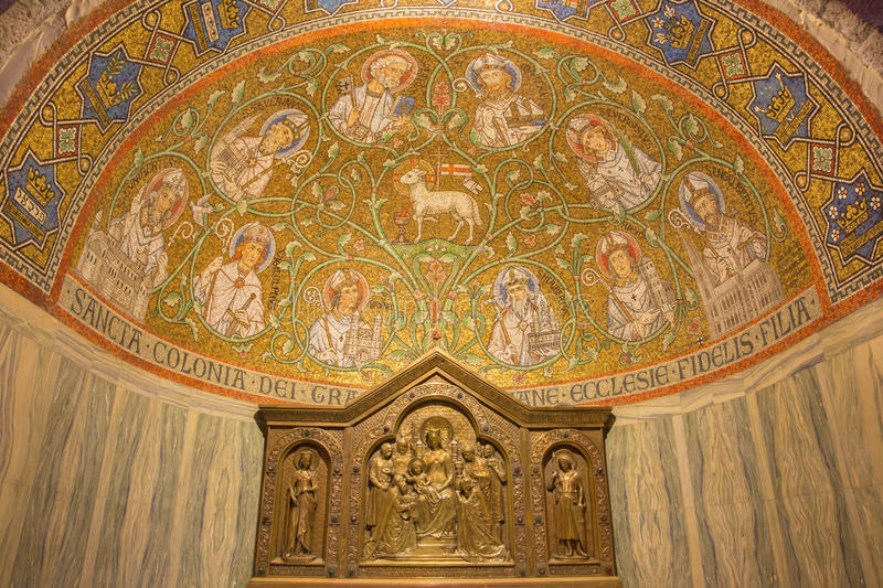 Jerusalem - The mosaic of The Lamb of God among the saints in side apse of Dormition abbey. JERUSALEM, ISRAEL - MARCH 3, 2015: The mosaic of The Lamb of God royalty free stock photo