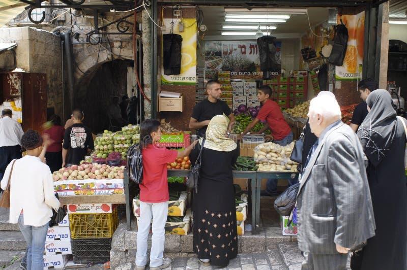 jerusalem muslimsouk arkivbilder