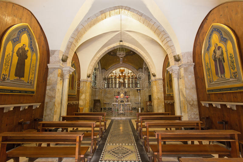 Jerusalem - The nave of Church of Flagelltion on Via Dolorosa from begin of 20. cent. by architect Antonio Barluzzi. JERUSALEM, ISRAEL - MARCH 4, 2015: The nave stock images