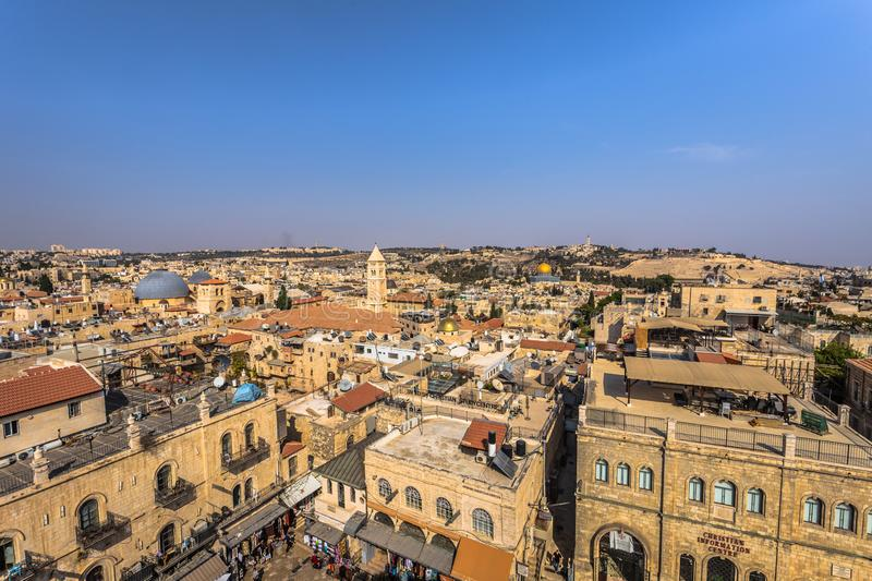 Jerusalem - October 03, 2018: Panorama of the old City of Jerusalem, Israel royalty free stock photos