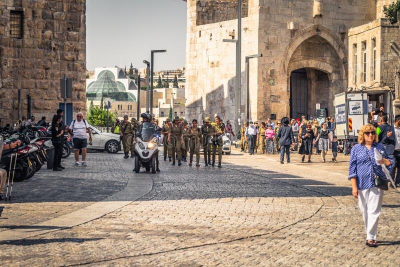 Jerusalem - October 04, 2018: Tourists at the Jaffa Gate of the old City of Jerusalem, Israel stock image