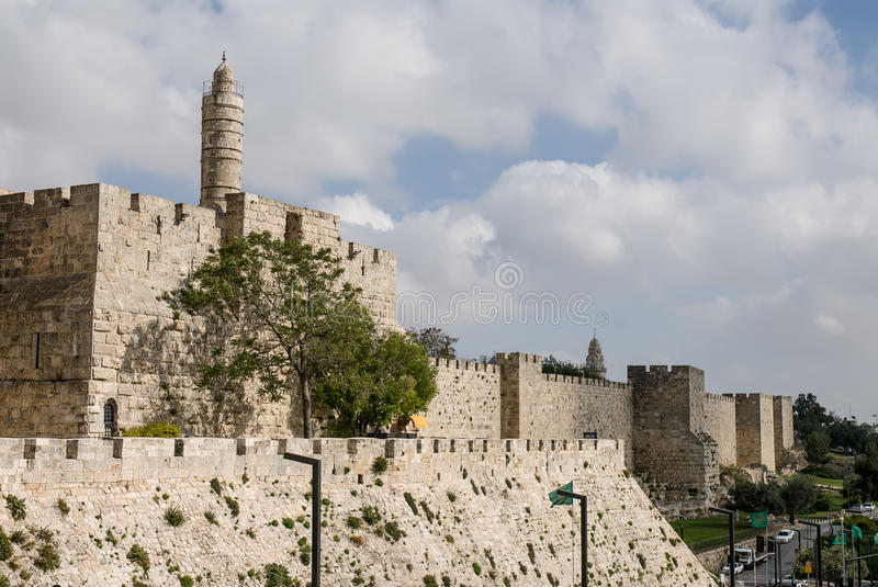 Jerusalem, Old City. Exterior view of the wall in the Old City of Jerusalem, Israel stock images