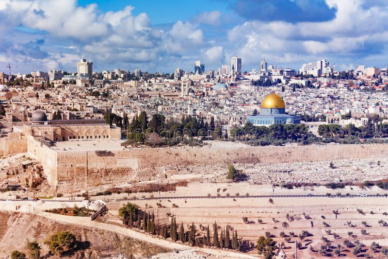 Jerusalem old city panorama at sunny day stock image