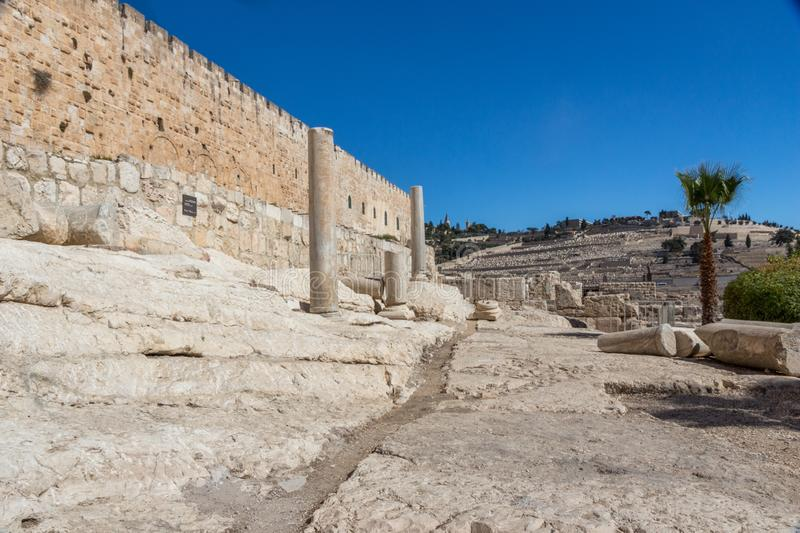 Jerusalem Old City wall in Israel royalty free stock photo