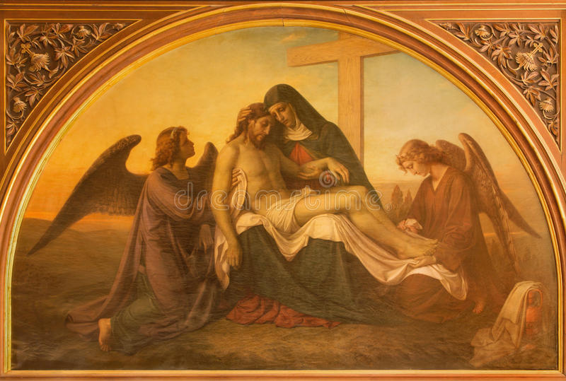 Jerusalem - The paint of Pieta with the angels in Evangelical Lutheran Church of Ascension. By unknown artist royalty free stock photography