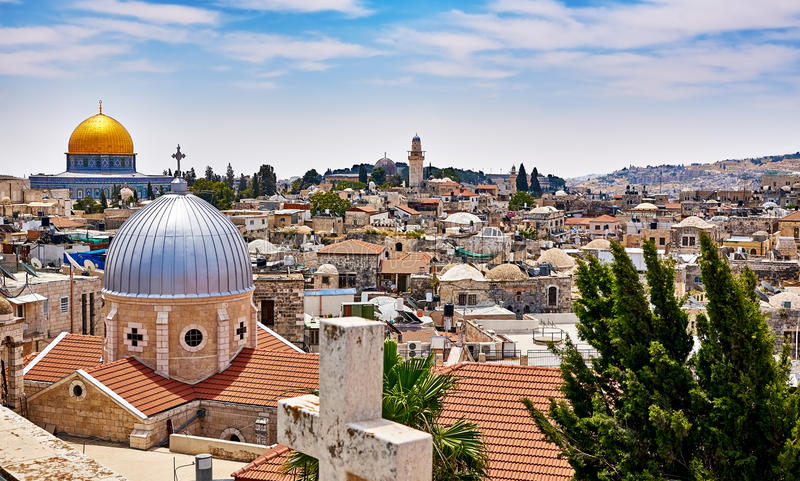 Jerusalem panoramic roof view stock photos