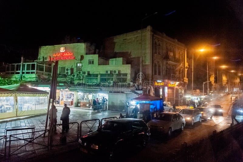 Jerusalem plats på natten arkivbild