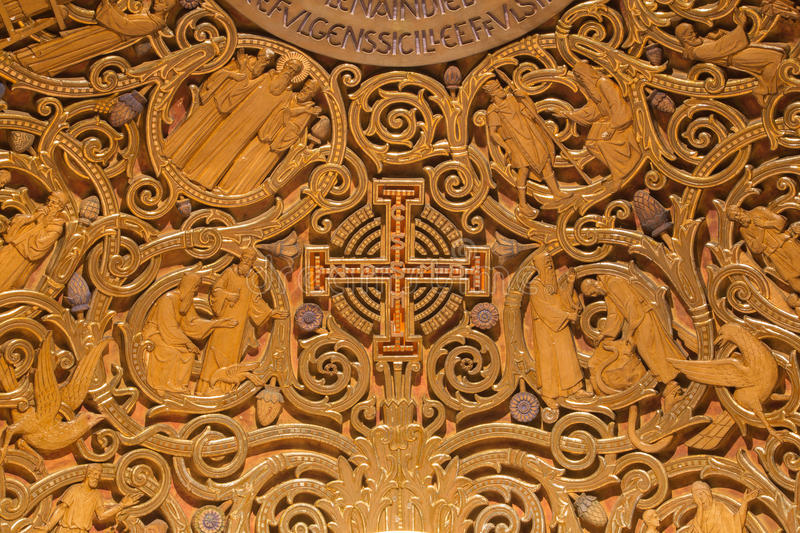 Jerusalem - The relief of Jerusalem cross and Old Testament Scenes in Dormition abbey. In apse of side chapel in upper church stock photos