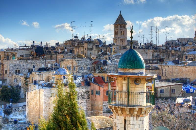 jerusalem rooftops royaltyfri bild