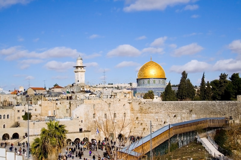 Jerusalem Scene 3. Classic landscape of Jerusalem, Israel : with the golden dome mosque and the Wailing Wall