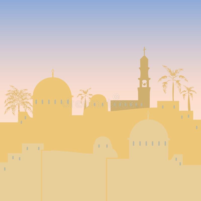 Jerusalem skyline silhouette flat design. Jerusalem Israel skyline silhouette flat design illustration royalty free illustration