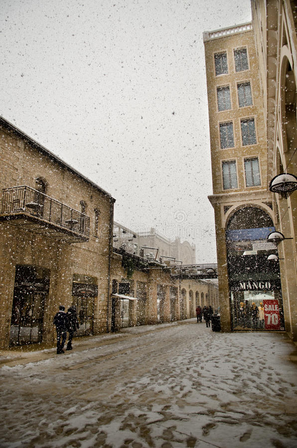 Jerusalem during snowfall stock photos