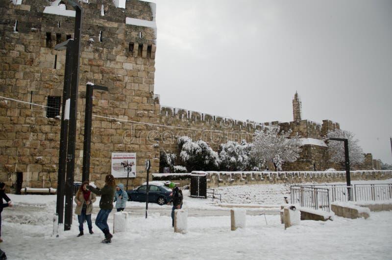 Jerusalem during snowfall royalty free stock image