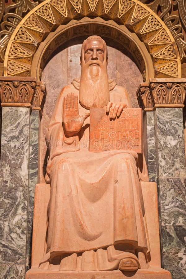 Jerusalem - The statue of St. Benedict of Nursia (founder of Benedictine) in Dormition abbey stock photography