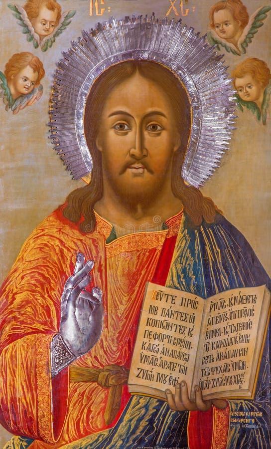Jerusalem - symbolen av Jesus Christ läraren i grekisk ortodox kyrka av St John det baptistiskt arkivfoto