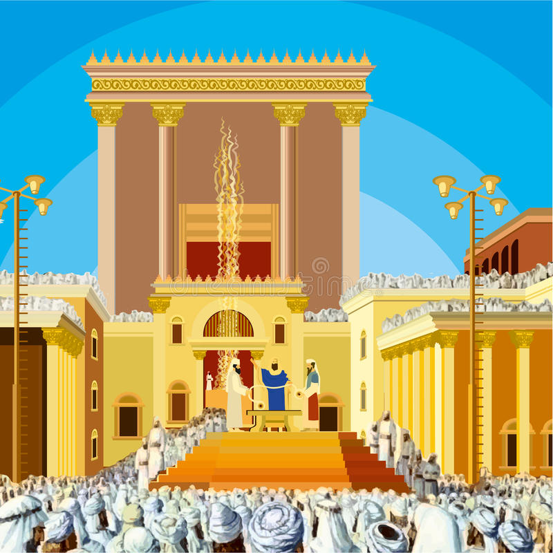 Jerusalem Temple. A scene of Jewish King long ago in the era the second in called Hakhel. The festival Sukkot. stock illustration