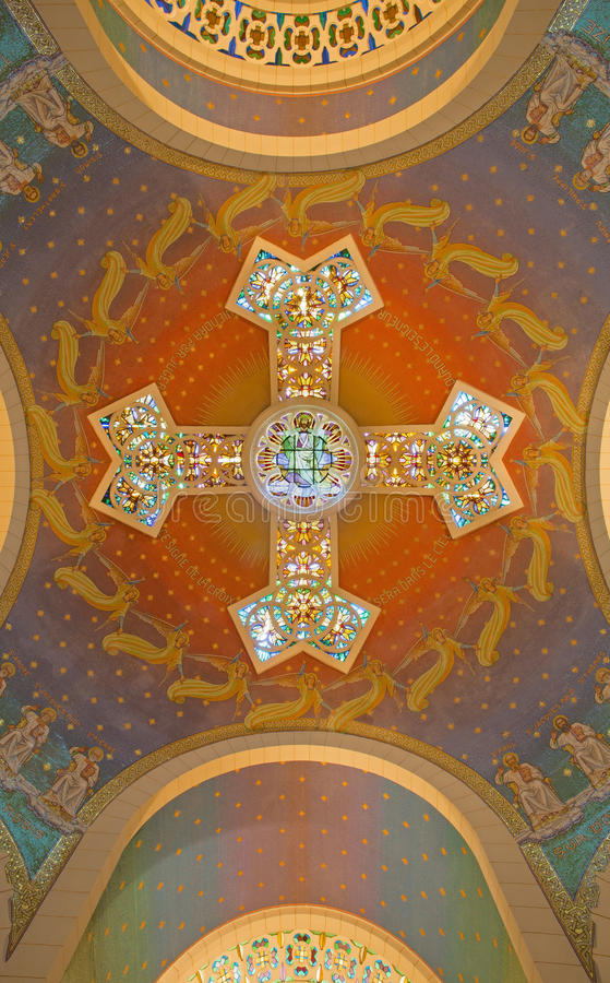 Free Jerusalem - The Modern Cupola With The Cross And Mosaic In Church Of St. Peter In Gallicantu. Royalty Free Stock Photography - 51862727