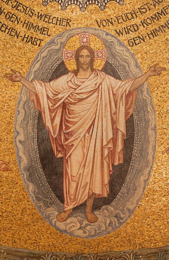 Free Jerusalem - The Mosaic Of Resurrected Christ On Ceiling Of Evangelical Lutheran Church Of Ascension Royalty Free Stock Photo - 53025055