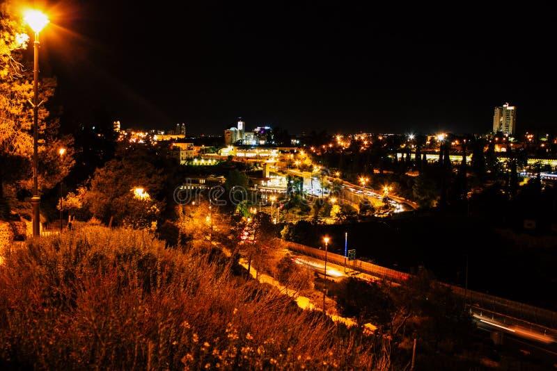 Jerusalem vid natt royaltyfri fotografi
