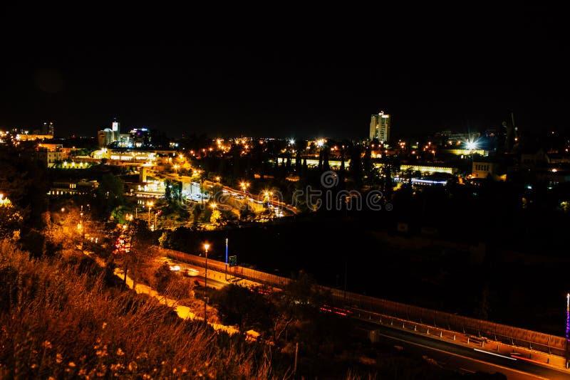 Jerusalem vid natt royaltyfri bild
