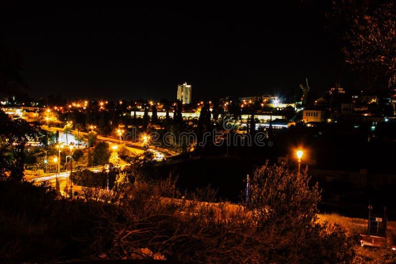 Jerusalem vid natt arkivfoto