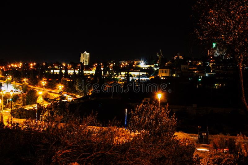 Jerusalem vid natt arkivfoton