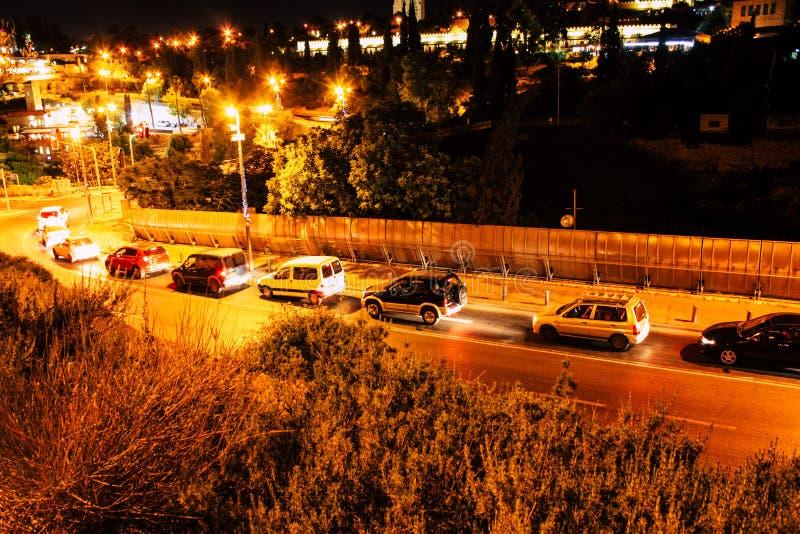 Jerusalem vid natt arkivbild