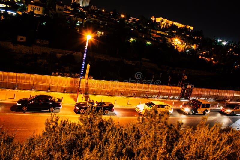 Jerusalem vid natt fotografering för bildbyråer
