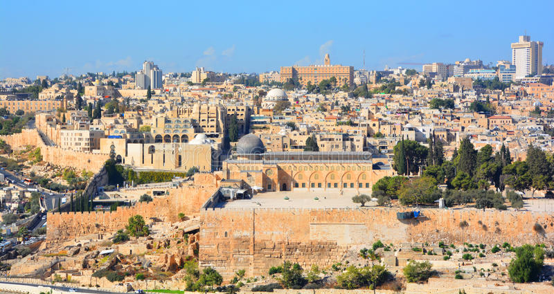 Jerusalem-Wand und -al--Aqsamoschee lizenzfreies stockfoto