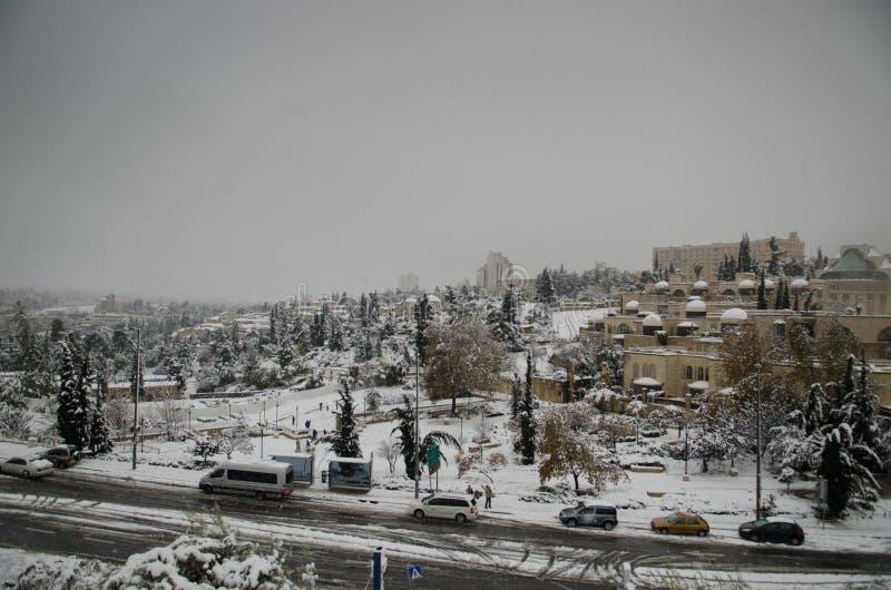 Jerusalem in winter during snowfall stock photos