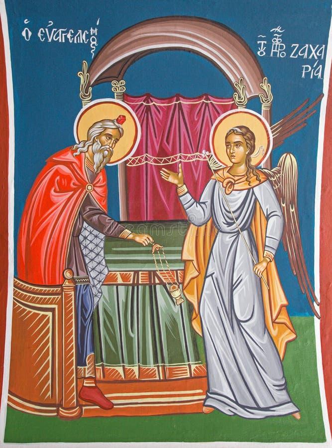 Jeruzalem - de fresko Angel Gabriel Appearing aan Zecheriah in de tempel in Griekse orthodoxe Kerk van st John Doopsgezind stock fotografie
