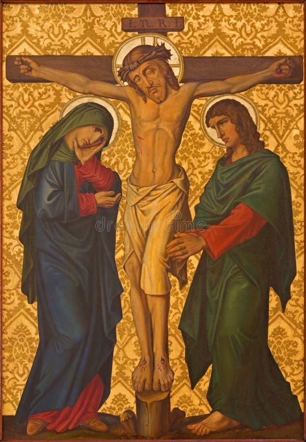 Jeruzalem - de Kruisigingsverf van eind van 19 cent in Armeense Kerk van Onze Dame Of The Spasm stock foto's