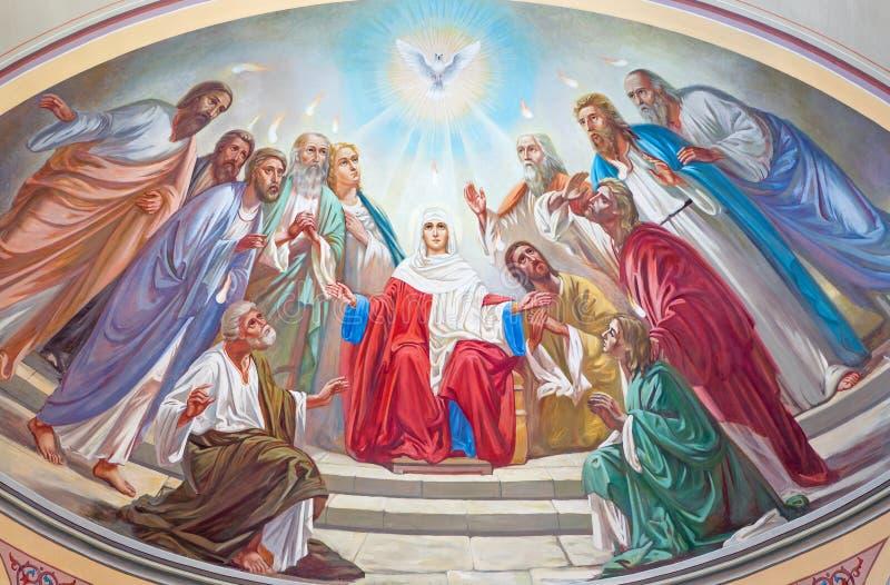 Jeruzalem - de Pinksterenscène Fresko van 20 cent in de zijapsis van Russische orthodoxe kathedraal van Heilige Drievuldigheid royalty-vrije stock fotografie