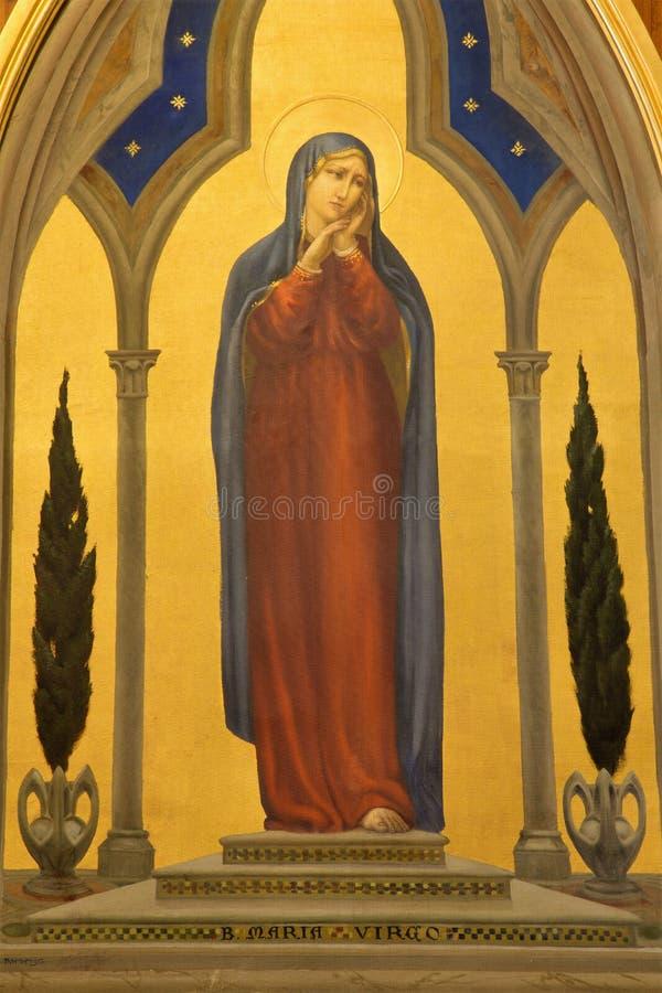 Jeruzalem - de verf van Maagdelijke Mary in Kerk van Flagellatie via Dolorosa van begint van 20 cent door kunstenaar Barberis stock foto