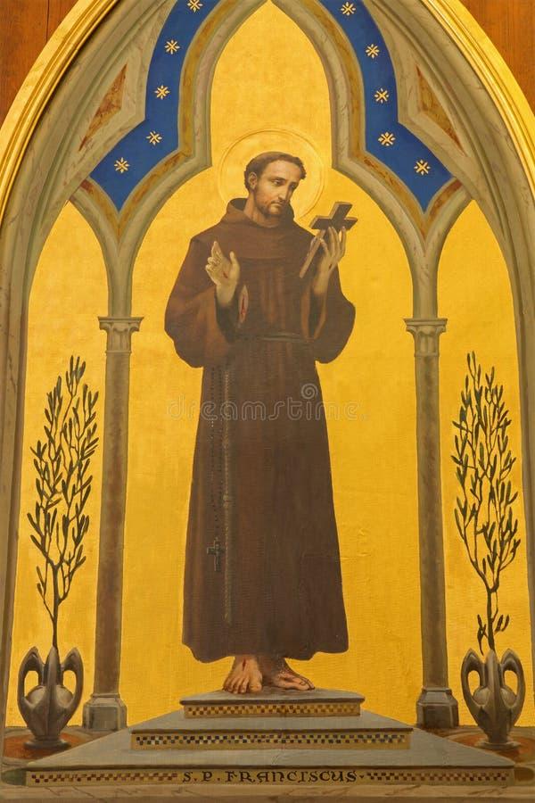 Jeruzalem - de verf van St Francis van Assisi in Kerk van Flagellatie via Dolorosa stock foto