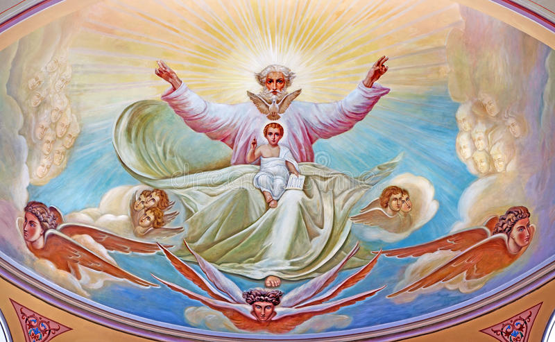 Jeruzalem - God de Vader met de kleine Jesus Fresko van 20 cent in de zijapsis van Russische kathedraal van Heilige Drievuldighei stock afbeelding