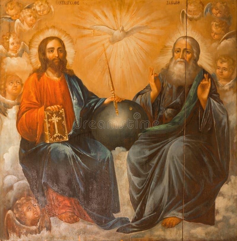 Jeruzalem - het Heilige Drievuldigheid schilderen van Kerk van het Heilige Grafgewelf door onbekende kunstenaar van 19 cent stock afbeeldingen